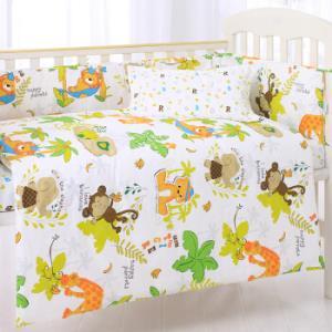 象宝宝(elepbaby)床品七件套 婴儿床品套件 可拆洗床围床单被套被芯枕套枕芯(动物王国)179元