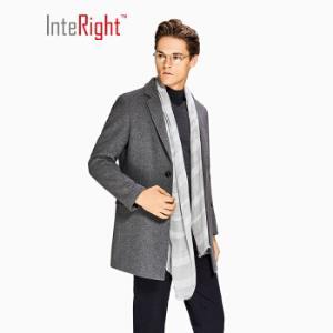 plus会员好价INTERIGHT男士商务休闲中长款毛呢大衣 深麻灰 M+凑单品191.49元