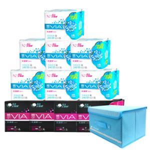 薇尔VIA 卫生巾超薄套装11包70片 日用56片+夜用8片+超长夜用6片 送定制收纳箱(维达出品) 39.9元