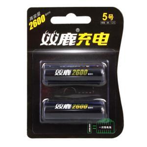 双鹿 5号充电电池2600毫安镍氢电池2粒装 数码相机闪光灯玩具游戏机无线鼠标电动剃须刀手电筒32.9元