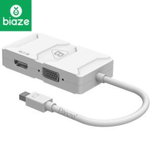 毕亚兹 苹果4K Mini DP转VGA/HDMI/DVI三合一转换器 迷你DP 雷电接口适配器 Mac接显示器 Surface扩展 ZH8-4K67.9元