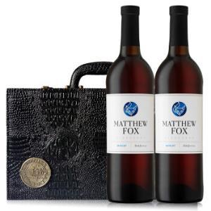 京东海外直采 美国加州马修狐美乐半甜红葡萄酒/红酒 750ml*2 黑色双支皮盒装 原瓶进口 *2件+凑单品99元(合49.5元/件)