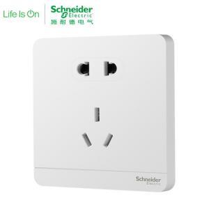 施耐德电气(Schneider Electric)绎尚镜瓷白 五孔插座墙壁电源开关 电源插座86型 10只装149元包邮