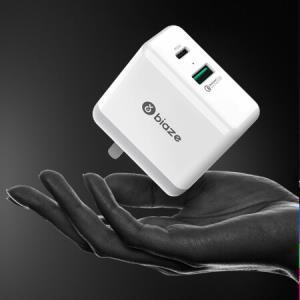 毕亚兹 QC3.0快充充电器 充电插头 Type-C双口充电器 PD27W快充插头 安卓/苹果 手机/平板适配器 M19白色69元
