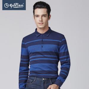 金利来男装2017秋季新款纯棉舒适柔软渐变条纹翻领男士长袖T恤XP299元