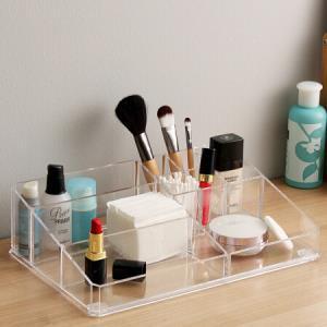 欧润哲 化妆盒 化妆品收纳盒亚克力9格透明梳妆台口红护肤品收纳盒35元