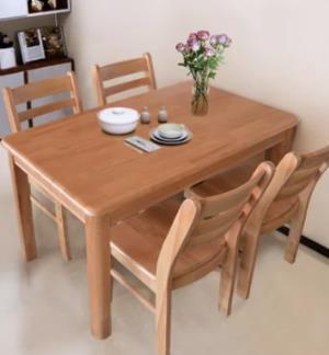 木巴  CZ097CZ186+YZ384 现代中式实木餐桌椅组合 一桌四椅 1190元