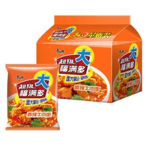康师傅 方便面(KSF)超级福满多 香辣牛肉袋装泡面五连包7.3元