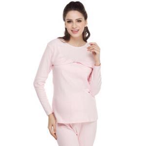诺宜 月子服 孕妇睡衣哺乳衣 孕妇家居服秋衣哺乳睡衣TJ31011粉色L *3件137元(合45.67元/件)