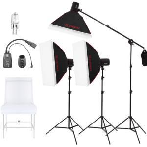 金贝250w摄影灯闪光补光灯 柔光箱灯架引闪器影棚器材套装 服装鞋包产品家电拍照灯 摄影棚静物拍摄台套装1460元