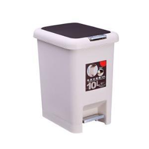 贵人家源 家用脚踏按压带盖两用加厚垃圾桶 米白色 8L29元(需用券)
