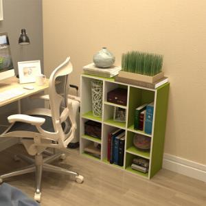慧乐家 书柜书架 鲁比克九格柜 组合书架层架储物柜收纳柜置物柜 绿白色 11050-299元