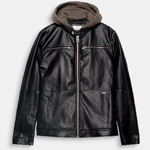 ESPRIT EDC男装秋冬新款可拆连帽休闲仿皮夹克外套 双十一下单价499元