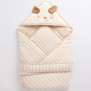 威尔贝鲁(WELLBER)婴儿抱被彩棉舒适包巾 新生儿盖毯式包巾宝宝襁褓秋冬厚棉 卡拉狗49元