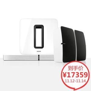 SONOS 音响 音箱 家庭智能音响 无线家庭影院PLAYBASE+SUB套装5.1声道 白色套组 低音炮 后环绕升级版15659元