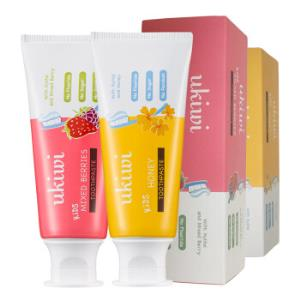 纽西小精灵 ukiwi 儿童牙膏2支装 (蜂蜜50g+多莓50g) *4件59.6元(合14.9元/件)