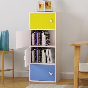 五格 带门收纳储物柜 简易卧室书房书柜书架  四层书柜WG153083.5元