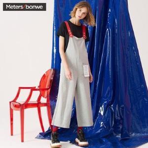 Meters bonwe 美特斯邦威 604608 女士背带阔腿裤71.7元