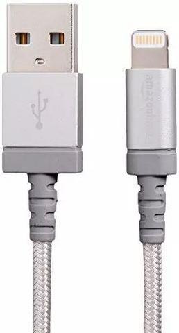AmazonBasics 亚马逊倍思 苹果MFi认证的尼龙编织型Lightning兼容性电缆USB A数据线- 银色(3英尺/0.9米)45元