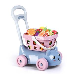 双11预售 儿童超市手推购物车超市宝宝过家家玩具女孩水果切切乐 65元
