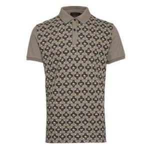 TRUSSARDI 杜鲁萨迪男式浅咖色棉质图案短袖POLO衫32T13  17  XXL码876元