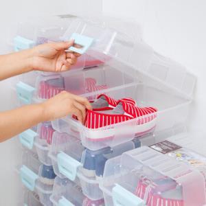 禧天龙Citylong 透明环保塑料鞋盒鞋靴收纳箱透气翻盖收纳盒雅格系列蓝扣8支装 709899元