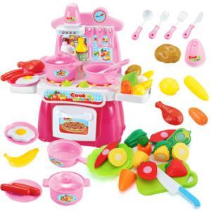 贝恩施 儿童玩具过家家 标准款厨房 粉色+切切乐10件套35元包邮