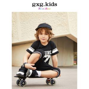 23日0点:gxg kids童装 时尚字母运动宽松男童短袖T恤圆领#KA144518C53.5元