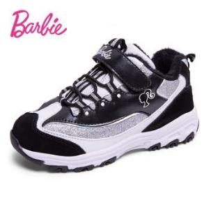 芭比 BARBIE 童鞋 儿童运动鞋女童熊猫鞋老爹鞋冬季新款保暖加厚公主女孩鞋子  2339 黑/白色 34码129元