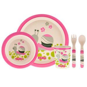 努比 (Nuby )儿童餐具 婴儿碗竹纤维宝宝辅食餐盘碗勺套装 蜗牛 5600 *3件197元(合65.67元/件)