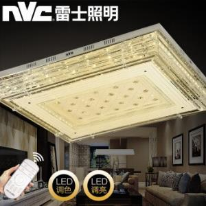 雷士(NVC) 雷士照明 LED吸顶灯 现代餐厅客厅灯卧室灯 长方形水晶灯 星瑶 80瓦 无极调光 950*750*155MM *3件2832.9元(合944.3元/件)