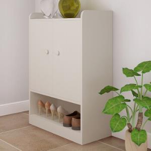 五格 可调节带抽双开门鞋柜 多功能木质鞋架多层玄关储物柜 四层暖白色WG1721B119.5元