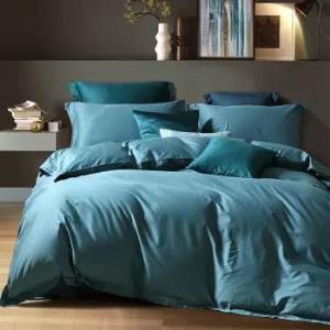 水星家纺 床上四件套纯棉 60S长绒棉贡缎床单被罩被套  醉出色(孔雀蓝) 加大双人1.8米床449元(需用券)