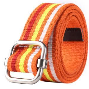 亲密百合(LovingLilies)皮带 英伦风尚通用条纹帆布腰带 中性裤带 橘色29.5元