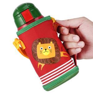 卡西菲(kaxifei) 儿童保温杯男女小孩学生两用双盖水杯宝宝婴儿水壶带吸管不锈钢杯子 红色狮子刺绣图案58元