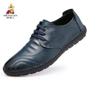 稻草人 MEXICAN 商务休闲皮鞋男士二层牛正装系带韩版潮流 1801 蓝色 4087元