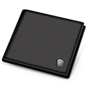 稻草人MEXICAN男士钱包时尚商务短款钱包男横款钱夹头层牛皮MXD30523M-03930黑色34.5元