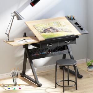 佰泽 可升降绘图绘画桌 多功能电脑桌书桌写字桌学习桌 含一桌一凳HA-001A649元