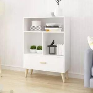普拉塔(PULATA)书柜 书架北欧简约实木腿带抽屉书橱 多功能储物收纳柜子 三层四格文件柜99.5元