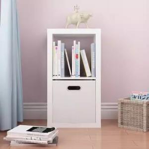好事达儿童书柜 厚板储物柜 两格柜 收纳置物架 柜子1834 白色不含布抽89.5元