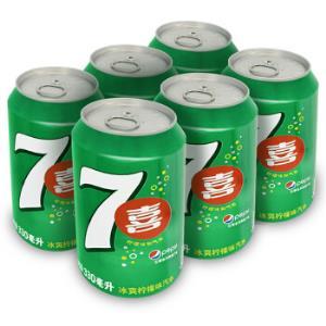 7喜 七喜 7up 柠檬味 碳酸饮料 330ml*6听  百事可乐出品 (新老包装随机发货)10.8元