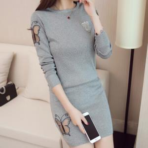 朗悦女装 长袖连衣裙女2018秋季新款韩版针织衫套装圆领毛衣包臀裙两件套 LWQZ187321 灰色 均码84.5元