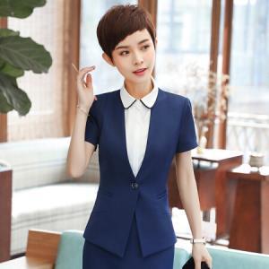 俞兆林 2018春夏新款ol职业装女修身时尚短袖西装YWXF183306藏青色西装L59.5元