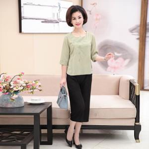俞兆林 宽松五分绣花圆领T恤七分短裤优雅母亲两件套装YWTZ181508浅绿色XXXL49.5元