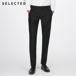 SELECTED思莱德男士含羊毛材质修身商务休闲西裤T 41746B503314元