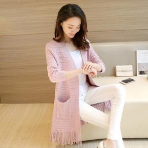 俞兆林 2018秋季新款韩版中长款休闲宽松流苏针织开衫外套 女YWWT8145 皮粉色均码59.5元