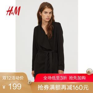 H&M DIVIDED女装风衣 秋季新款宽松垂褶翻领长袖短大衣HM0647483 199元