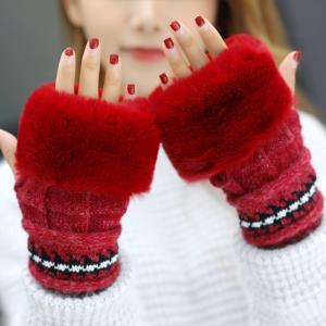 毛线半指手套女冬天学生可爱女士露指韩版冬季加厚保暖打字手臂套 ¥14.9