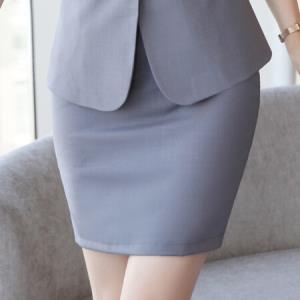 初申 职业装套装女夏季韩版拼接短袖修身小西装女OL气质修身短裙女士简约吊带SWXF183152-2灰色短裙XL 44.5元
