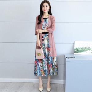俞兆林 2018新款韩版印花无袖连衣裙+棉麻中长款外套 YWQZ182227粉色L87元